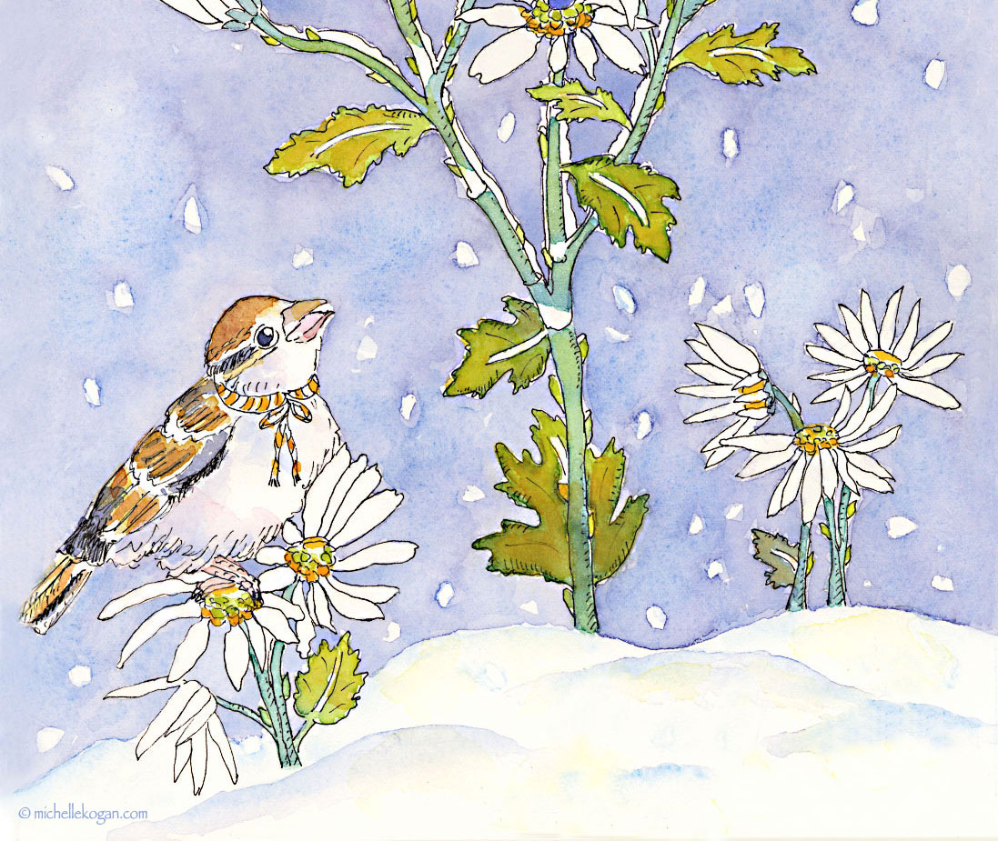 1.a-Sparrow-in-SNow-with-Flowers-Card-11-21-2015-copy