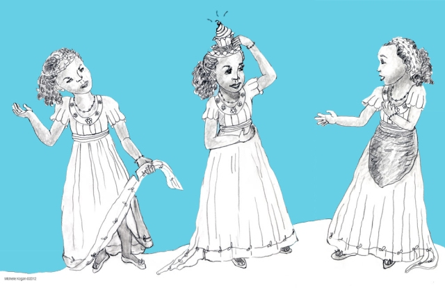 Princesses character pencil sketches, with Photoshop blue background.