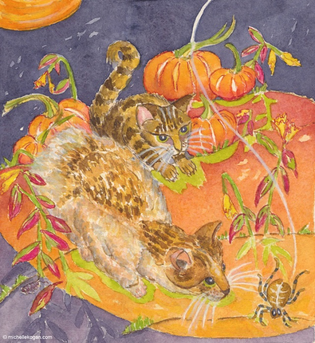 © Michelle Kogan, Cats and Spider, watercolor and watercolor pencil.