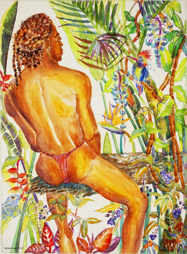 Michelle Kogan Africa/America Conserve, watercolor and watercolor pencil on paper.