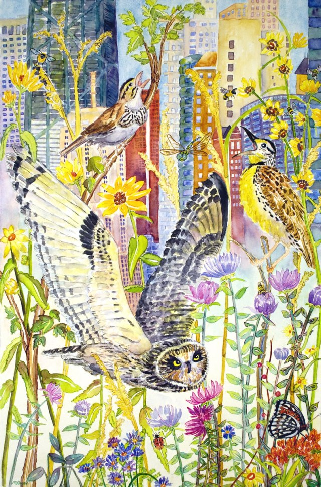 Michelle-Kogan-© Wildlife-Comes to Lake Shore Drive, endangered species, watercolor and watercolor pencil, 2013, 40 x 26 inches.