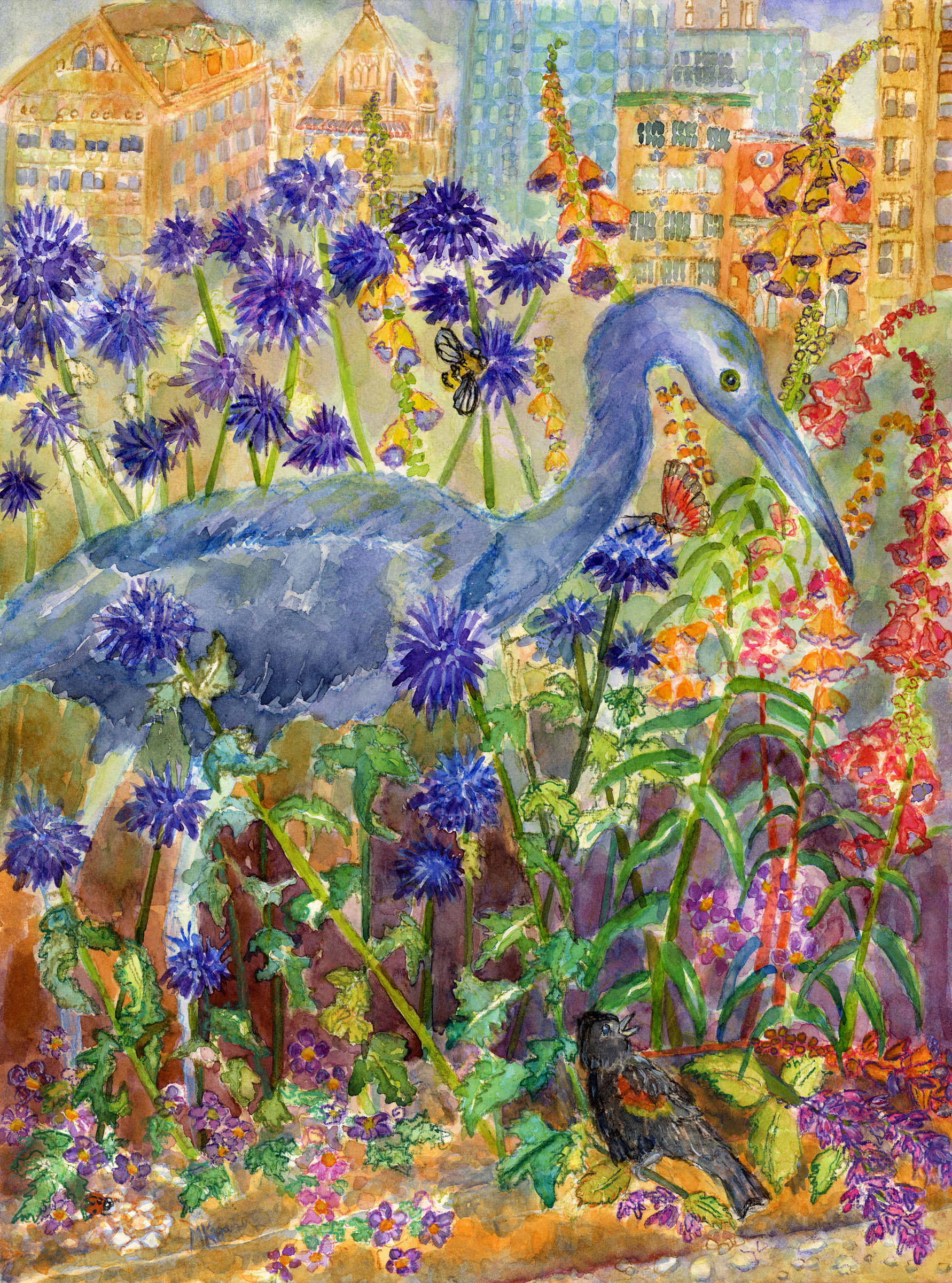 Above is the completed Little Blue Heron painting, called Little Blue ...