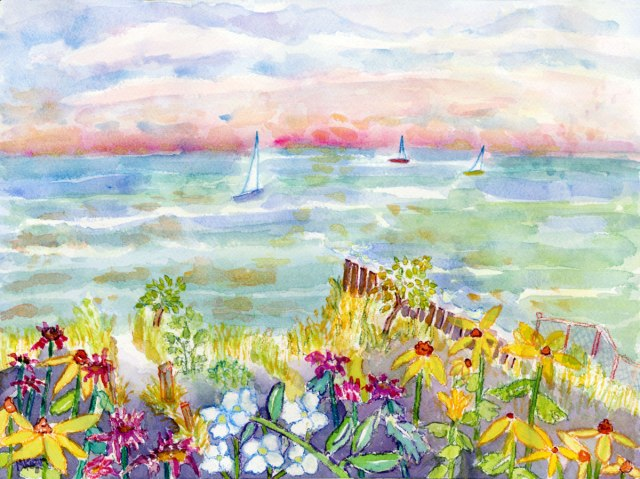 Michelle Kogan, 3 Sailboats, © 2012 watercolor and watercolor pencil
