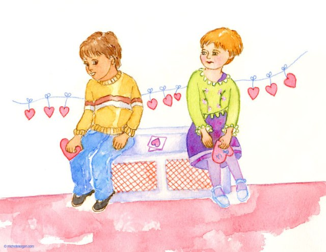 Michelle Kogan Young Valentine Card, watercolor and watercolor pencil.
