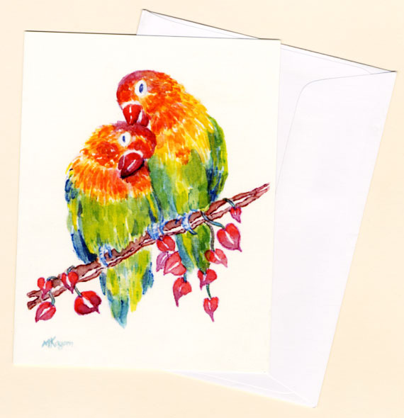 Michelle Kogan © Lovebird Card with envelope, watercolor and watercolor pencil.