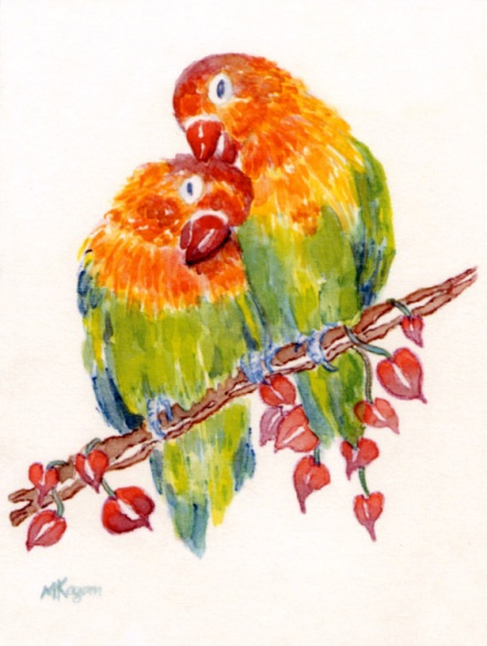 Lovebirds, watercolor and watercolor pencil.
