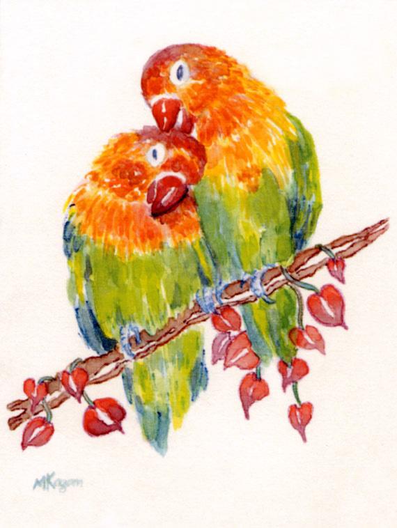 Michelle Kogan © Lovebirds, watercolor and watercolor pencil.