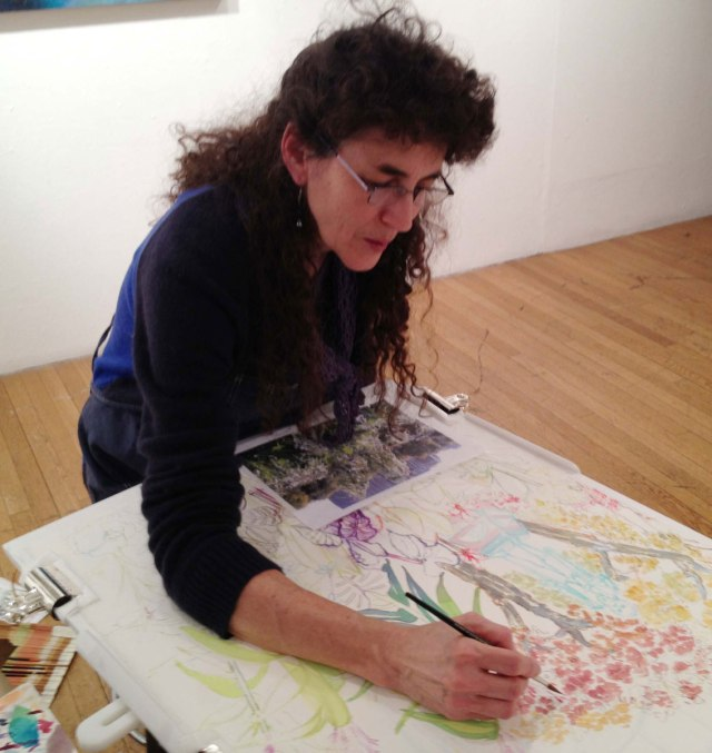Michelle Kogan painting in the Evanston Art Center Galleries