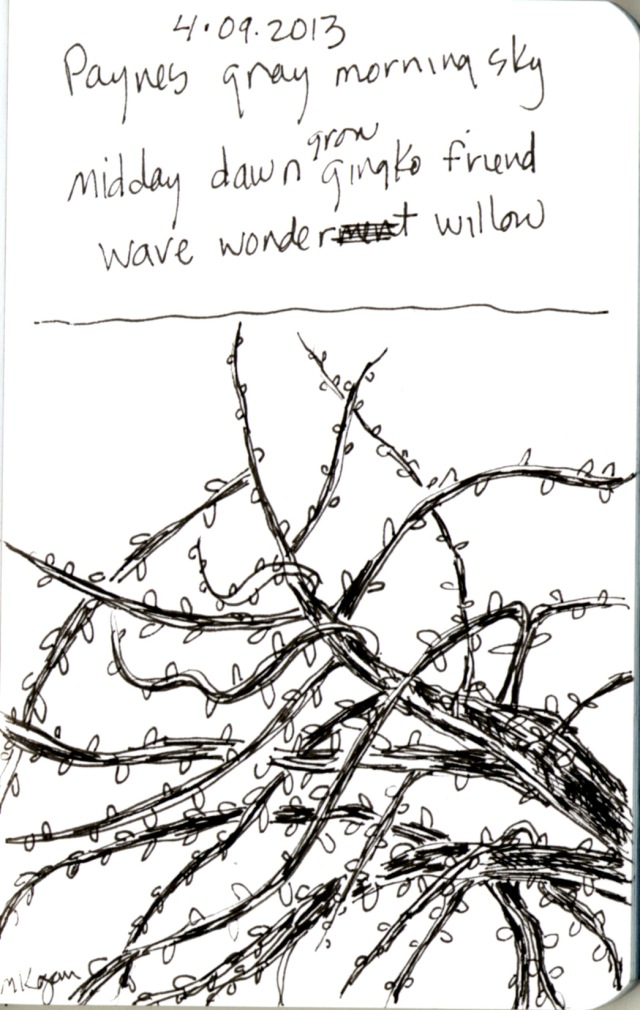 MIchelle Kogan, ©  4-2013 Haiku-Gingko sketch, micron pen.
