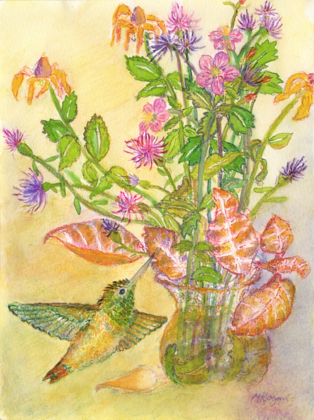 © Michelle Kogan, Hummingbird and wildflowers, watercolor and watercolor pencil.
