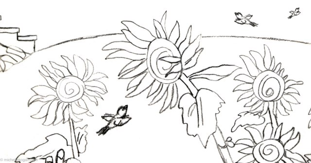 "Detail from ""Through A Sunflower"" pencil with 3 birds-blog"