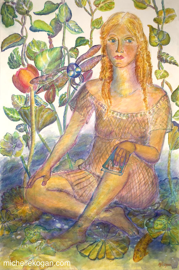 Michelle Kogan © Water Goddess Bullfrongs and Dragonfly, Watercolor and watercolor pencil, 2012.