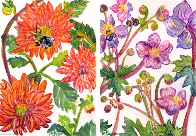 ©-2013-Michelle-Kogan-Orange-Dahlia-with-Bee- & Fall Anemone