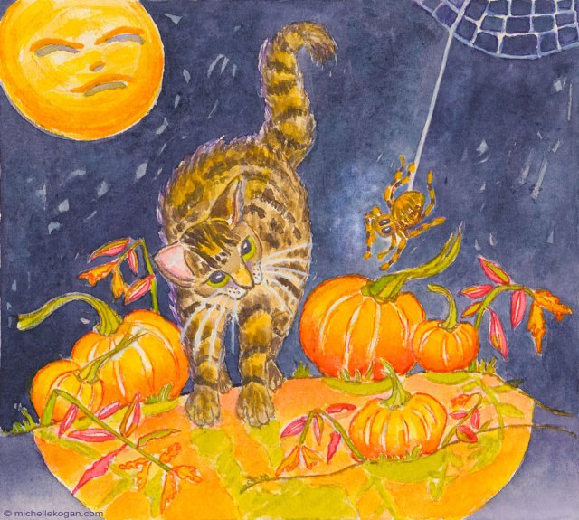 © M. Kogan, Cats and  Spider, watercolor and watercolor pencil.