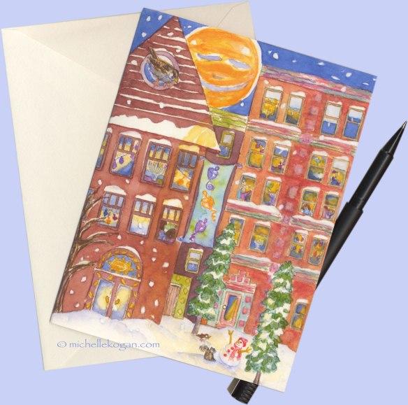 Hanukkah-in-the-City-with-pen-etsy-card-©Michelle Kogan