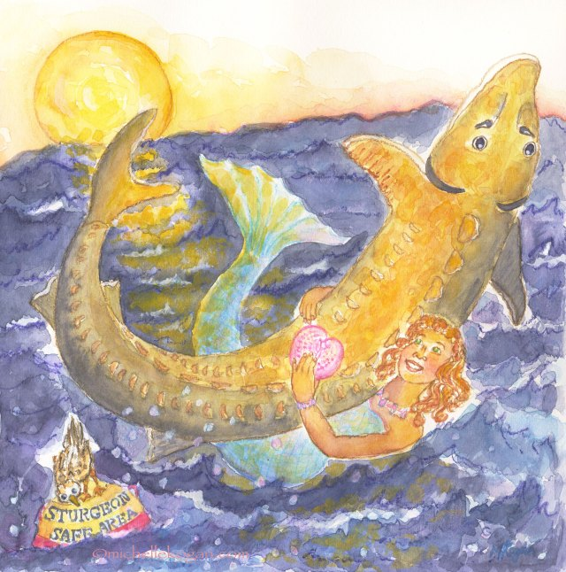 © Michelle Kogan Mermaid and Sturgeon Valentine Card