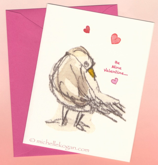 M Kogan © Seagull-in-Love-card-front-& envelope--Magenta-WP