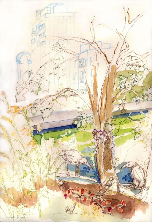 WIP-Notebaert-pond- Michelle Kogan © watercolor and watercolor penciil