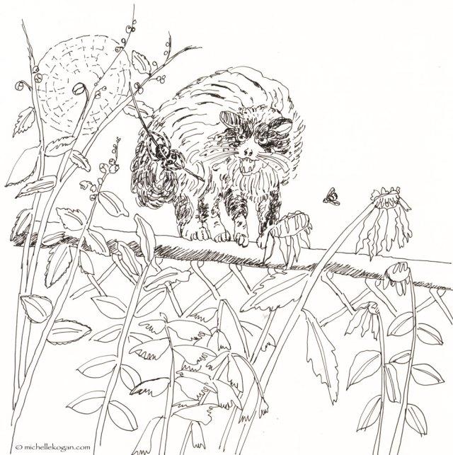 ©-Michelle-Kogan--Furry-Cat-and-Spider-10-03-2014-inktober