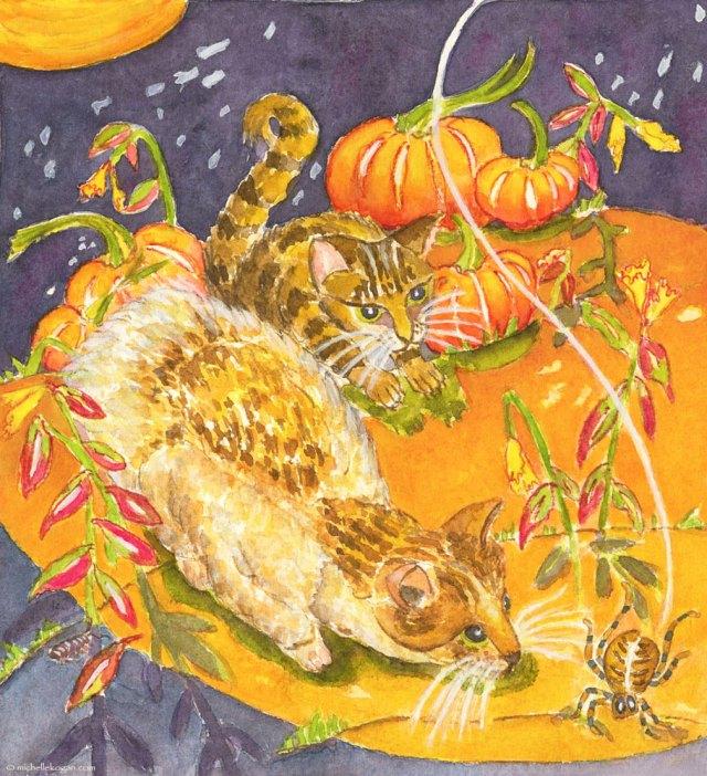 ©-Michelle-Kogan-Cats-&-Spider-Illo-10-2014-