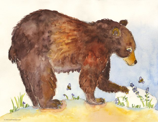 Big-Brown-Bear-and-2-Bees-4-14-2016