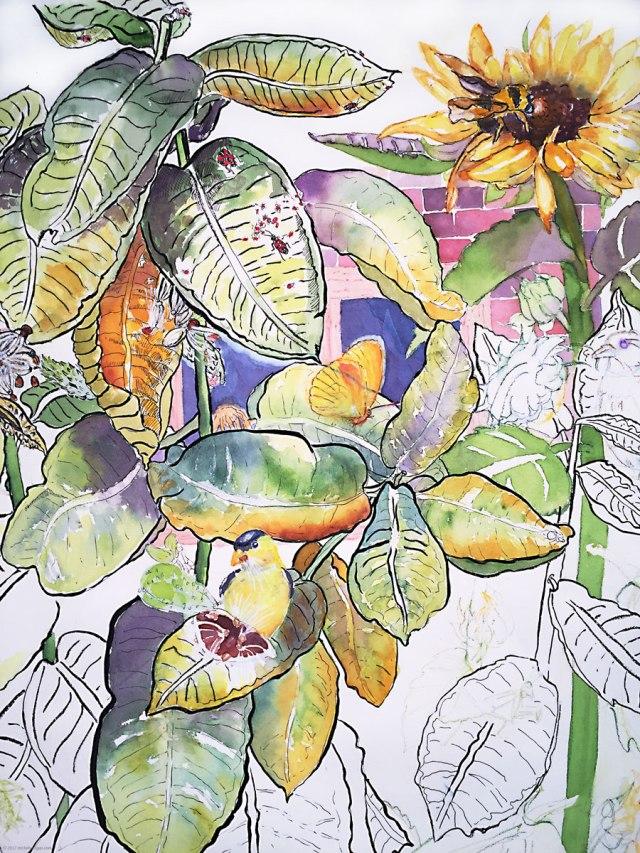 1-Milkweed-and-Sunflowers-WIP-M-KOgan-5-4-2017