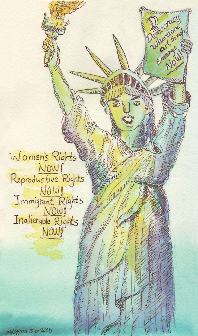 1--Inktober-Lady-Liberty-Democaracy-10-6-2018