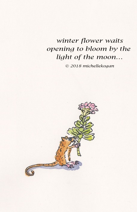 1-Mouse with winter flower-1haiku and art-2-27-2018