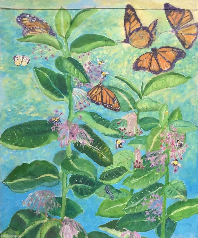 1-5 Monarchs and Milkweed WIP- oil- 3-7-2019 copy