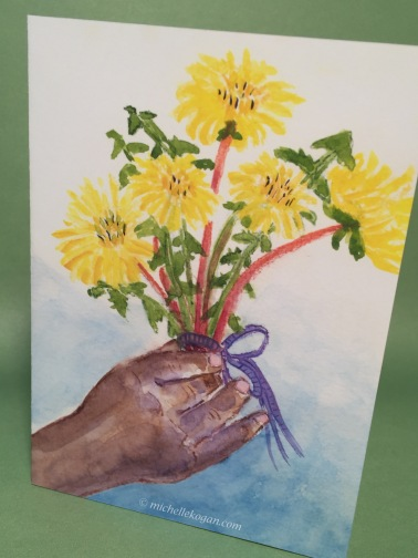 1-Bouquet of flowers dandelions-Card front- 6-28-2019