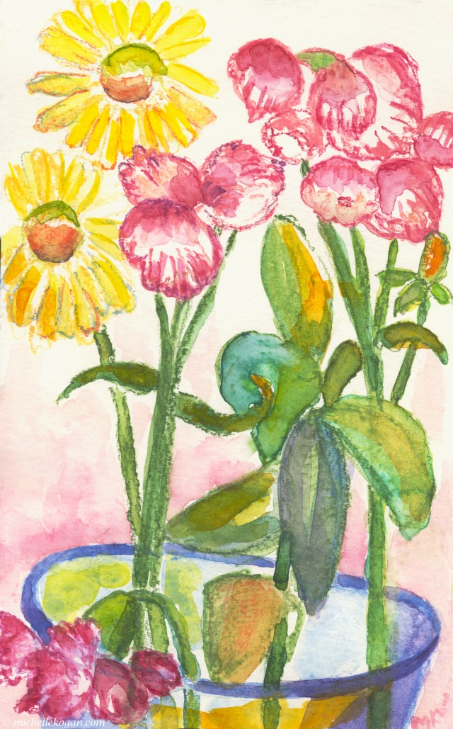 Yellow and Pinkess flowers in Vase-6-28-2019