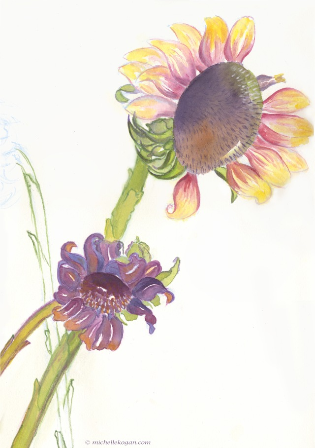 1a-Summer Sunflowers detail WIP 7-18-2019
