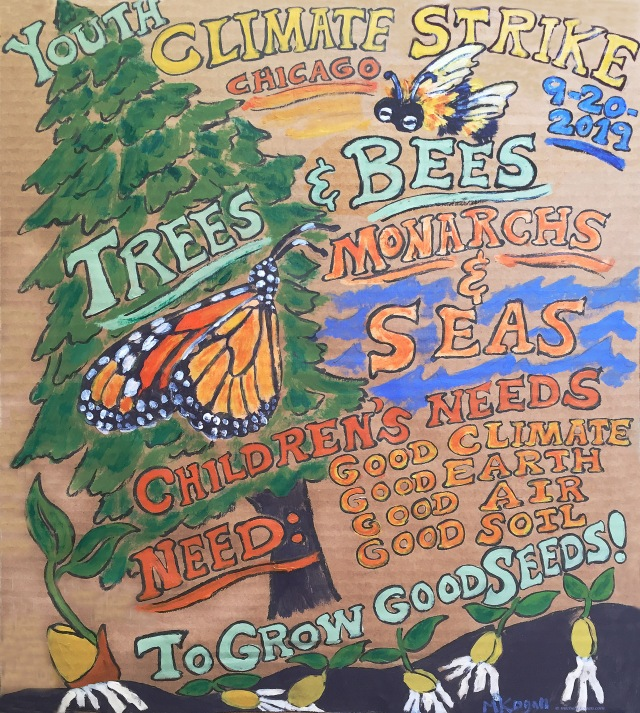 1a-youth Climate STrike poster Trees and Bees9-19-2019