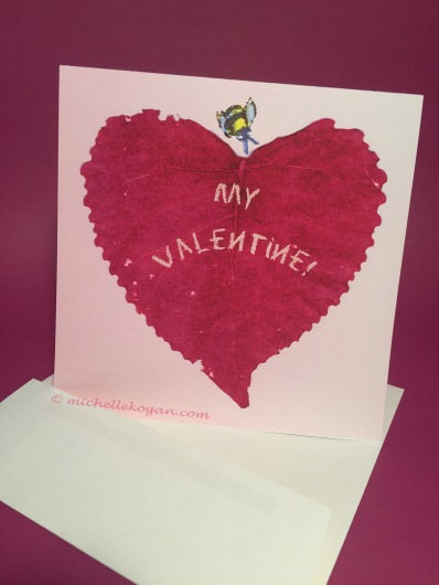 1-Bee my valentine leaf card front envelope 1-28-2019