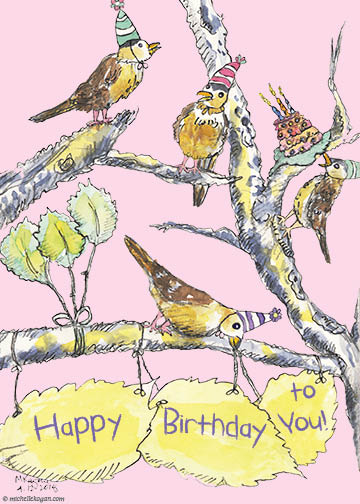 1-Sparrows in Tree Happy B-Day -FB-5 x 7- 4-13-2019